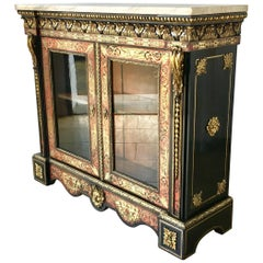 19th Century French Boulle Ebonised Wood Glazed Cabinet