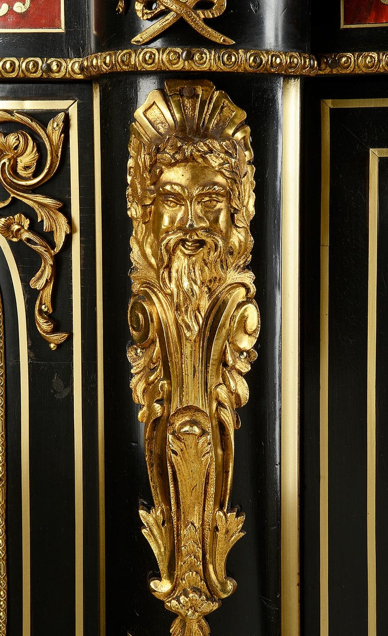 Brass 19th Century French Boulle Inlaid Side Cabinet or Credenza For Sale