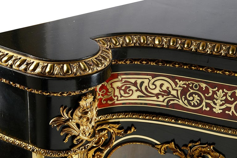 19th Century French Boulle Inlaid Side Cabinet or Credenza For Sale 3