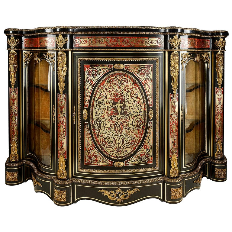 19th Century French Boulle Inlaid Side Cabinet or Credenza For Sale
