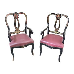 19th Century French Boulle Louis XV Style Pair of Armchair