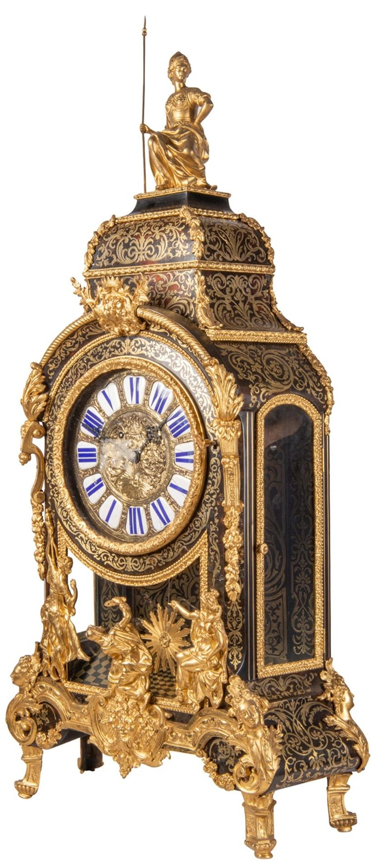19th Century French Boulle Mantel Clock For Sale 4