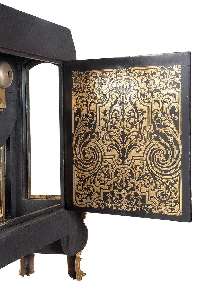 19th Century French Boulle Mantel Clock For Sale 9
