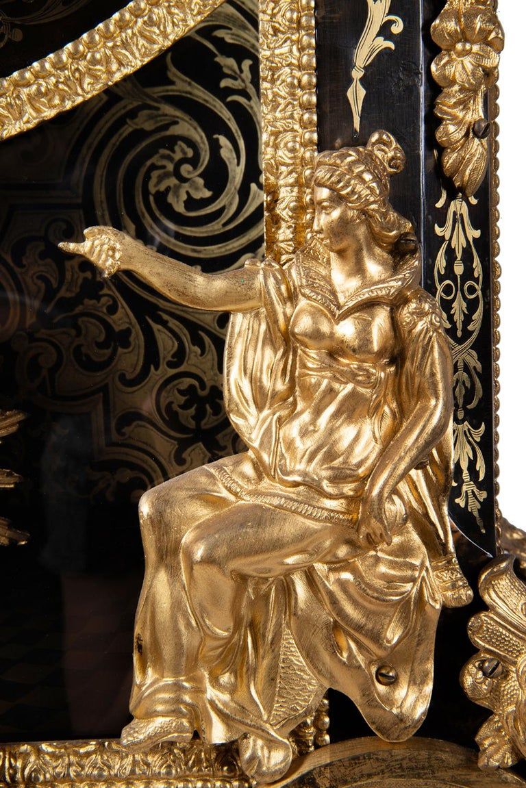 Inlay 19th Century French Boulle Mantel Clock For Sale