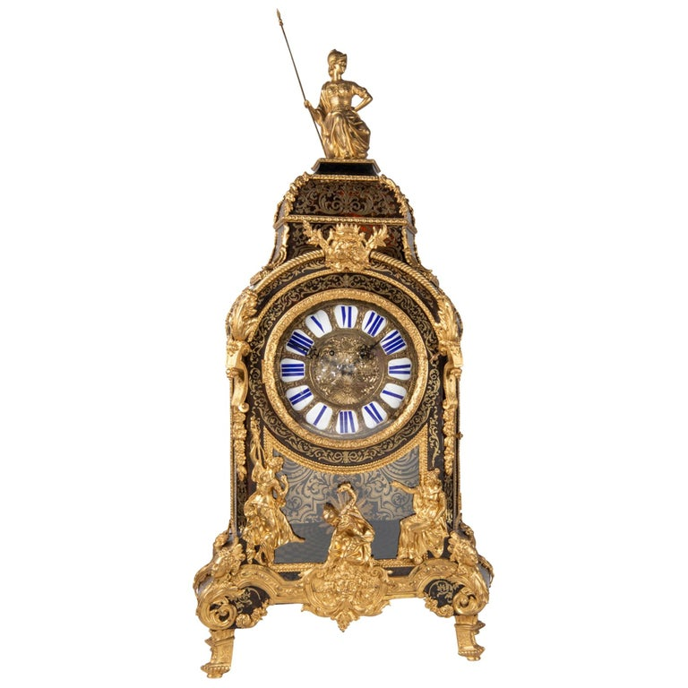 19th Century French Boulle Mantel Clock For Sale