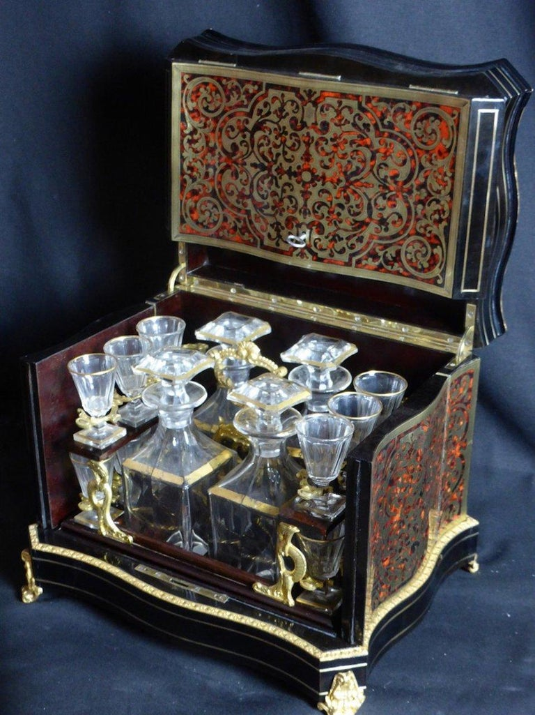 19th Century French Boulle Napoleon III Marquetry Liquor Cellar For Sale 4
