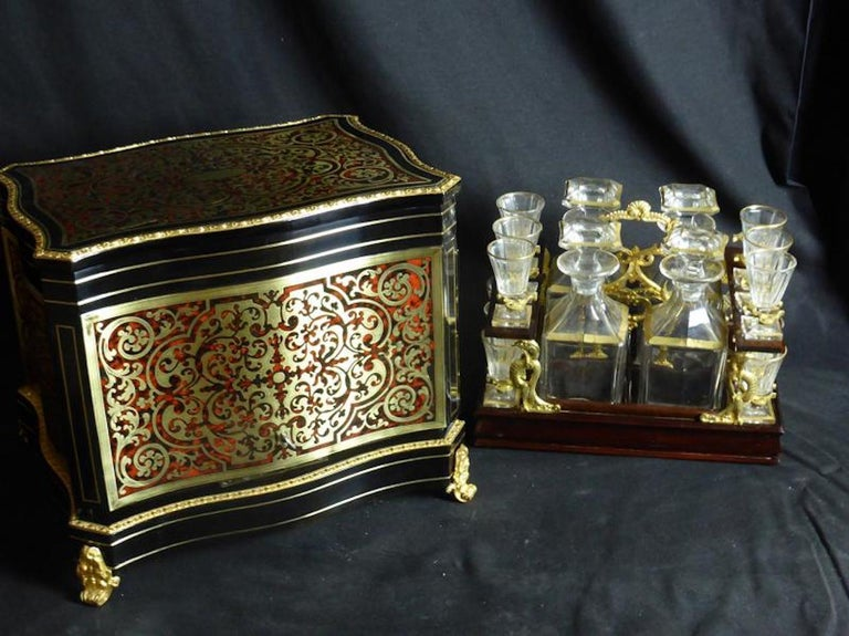 Mid-19th Century 19th Century French Boulle Napoleon III Marquetry Liquor Cellar For Sale