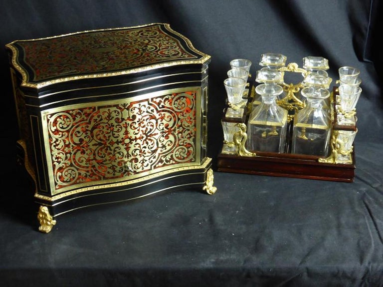Brass 19th Century French Boulle Napoleon III Marquetry Liquor Cellar For Sale
