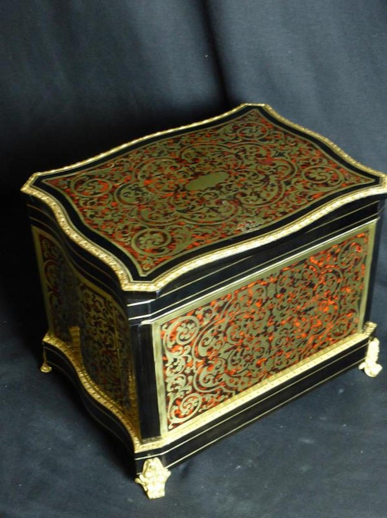 19th Century French Boulle Napoleon III Marquetry Liquor Cellar For Sale 3