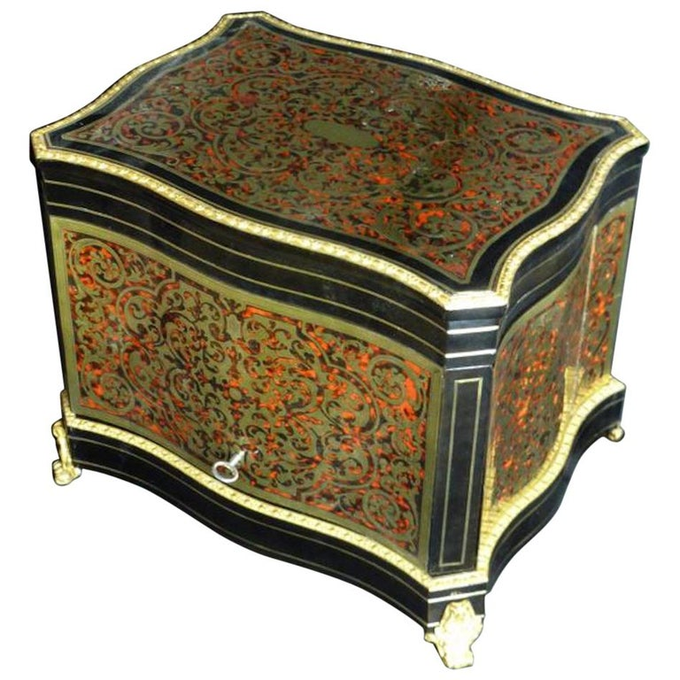 19th Century French Boulle Napoleon III Marquetry Liquor Cellar For Sale