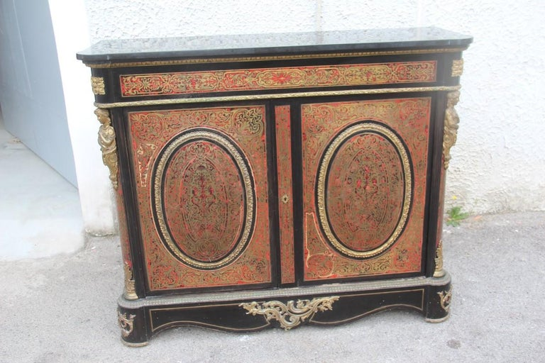 Original Pieces 19th century French Boulle set desk cabinet and chairs Andre Charles Boulle Louis XV Napoleon III.