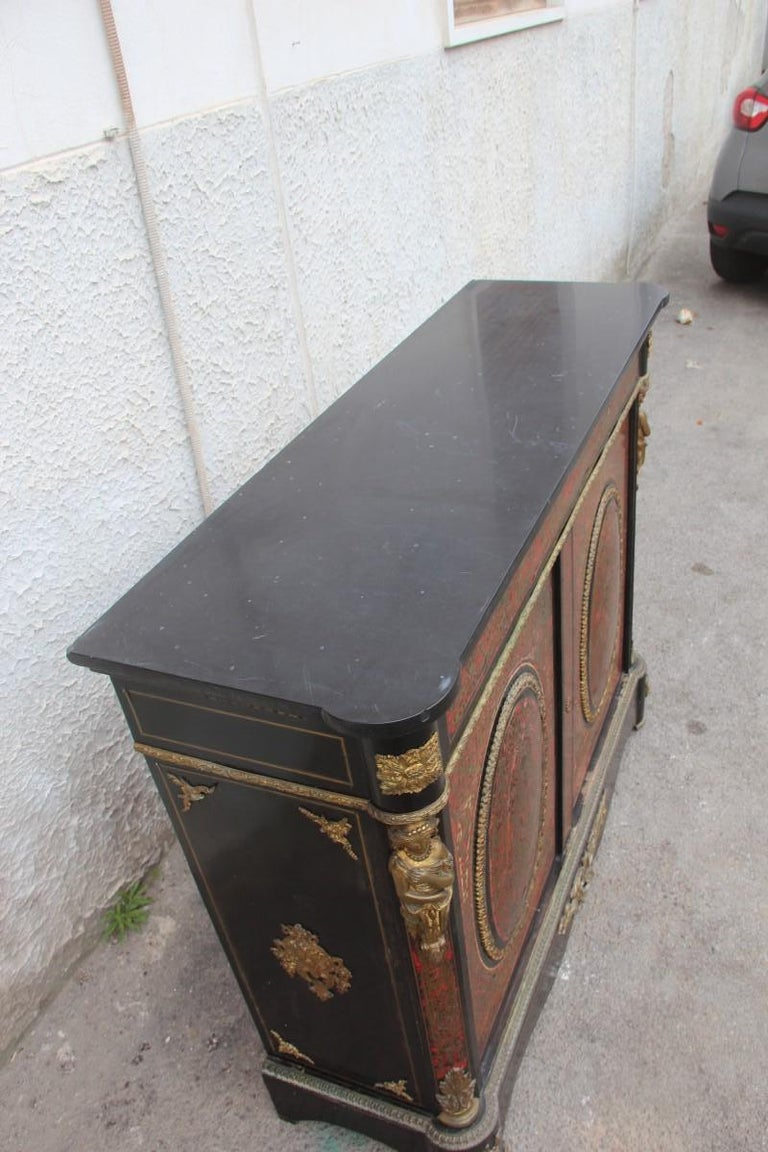 19th Century French Boulle Set Desk Cabinet and Chairs Andre Charles Boulle In Fair Condition For Sale In Palermo, Sicily