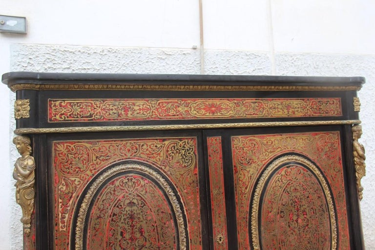 Brass 19th Century French Boulle Set Desk Cabinet and Chairs Andre Charles Boulle For Sale
