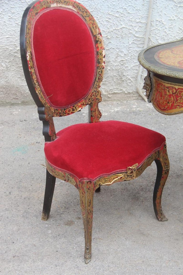 19th Century French Boulle Set Desk Cabinet and Chairs Andre Charles Boulle For Sale 3