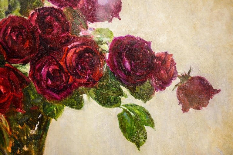 19th Century French Bouquet of Red Flowers Oil on Canvas Signed Eugene Huc For Sale 5