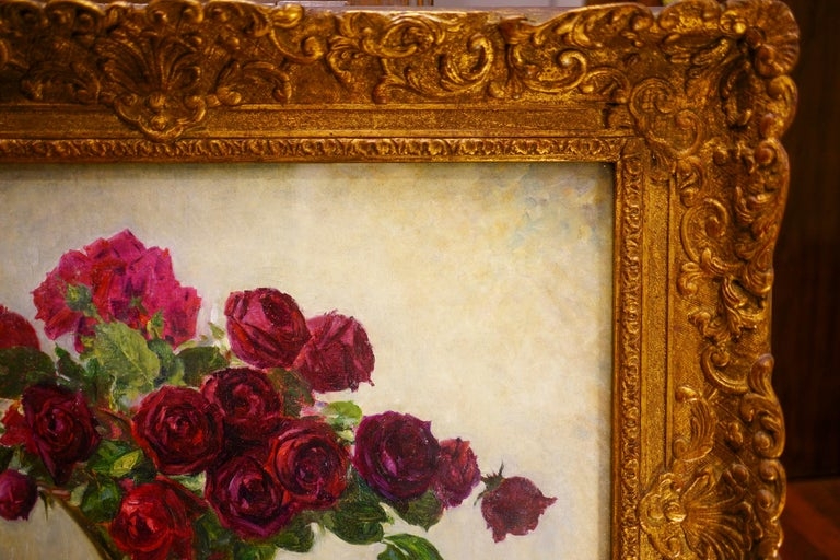 Mid-19th Century 19th Century French Bouquet of Red Flowers Oil on Canvas Signed Eugene Huc For Sale