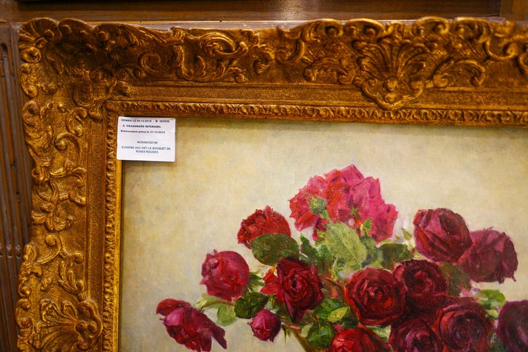 19th Century French Bouquet of Red Flowers Oil on Canvas Signed Eugene Huc For Sale 2