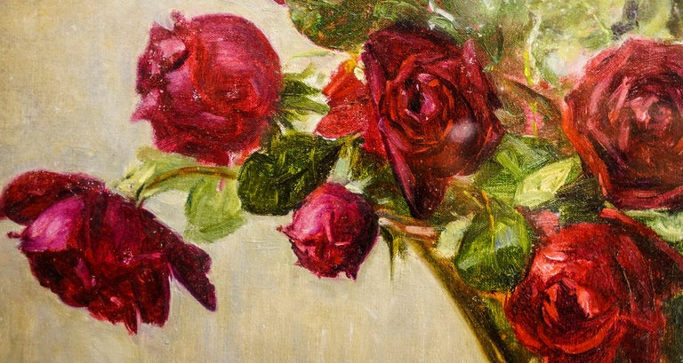 19th Century French Bouquet of Red Flowers Oil on Canvas Signed Eugene Huc For Sale 3