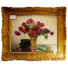19th Century French Bouquet of Red Flowers Oil on Canvas Signed Eugene Huc