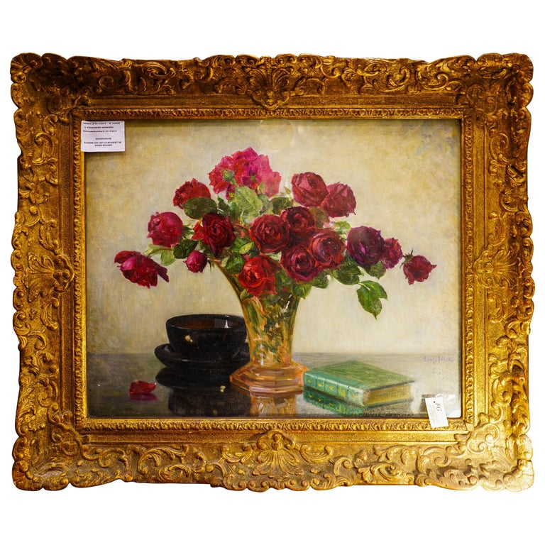 19th Century French Bouquet of Red Flowers Oil on Canvas Signed Eugene Huc For Sale