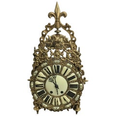19th Century French Brass and Wood Lantern Clock Chiming On Gong
