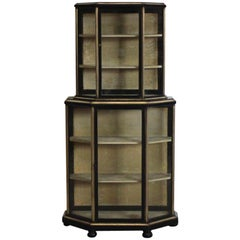 19th Century French Brass Bound Ebonised Display Cabinet