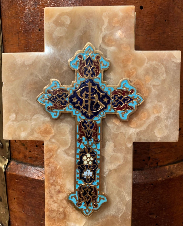 Hand-Crafted 19th Century French Brass & Cloisonné Cross with Holy Water Font on Beige Marble For Sale