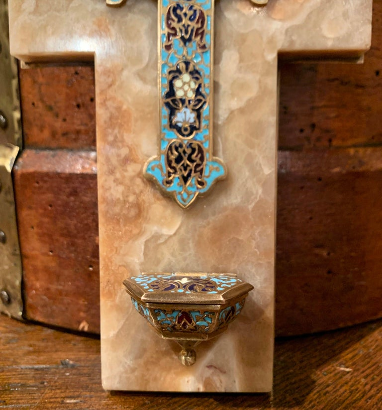 19th Century French Brass & Cloisonné Cross with Holy Water Font on Beige Marble In Excellent Condition For Sale In Dallas, TX