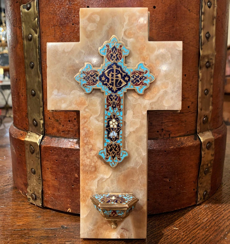 19th Century French Brass & Cloisonné Cross with Holy Water Font on Beige Marble For Sale 1