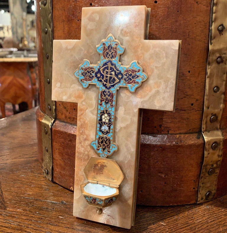 19th Century French Brass & Cloisonné Cross with Holy Water Font on Beige Marble For Sale 2