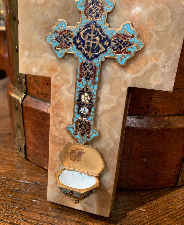 19th Century French Brass & Cloisonné Cross with Holy Water Font on Beige Marble For Sale 3