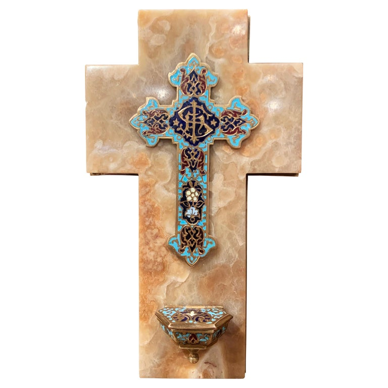 19th Century French Brass & Cloisonné Cross with Holy Water Font on Beige Marble For Sale