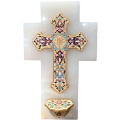 19th Century French Brass & Cloisonné Cross with Holy Water Font on White Marble