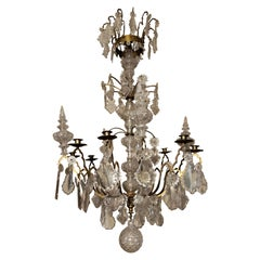 19th Century French Brass Crystal Chandelier