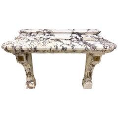 19th Century French Breccia Violetta Marble Console