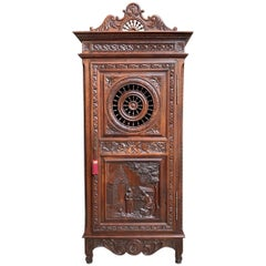 19th Century French Brittany Armoire Bonnetiere Cabinet Wardrobe Chestnut