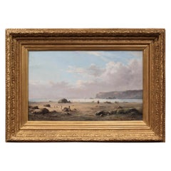 19th Century French Brittany Coast Landscape Painting Signed Masny Dated 1882