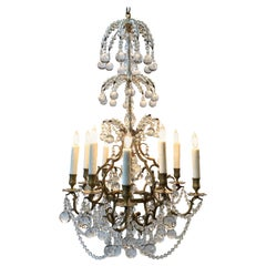 19th Century French Bronze and Crystal Ball Chandelier