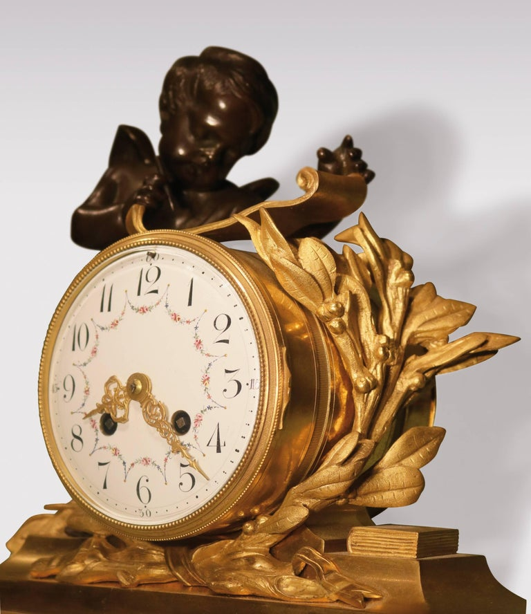 19th Century French Bronze and Ormolu Clock Garniture In Good Condition For Sale In London, GB