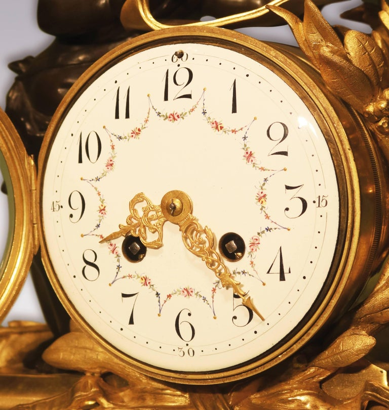 19th Century French Bronze and Ormolu Clock Garniture For Sale 1