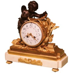 19th Century French Bronze and Ormolu Clock Garniture