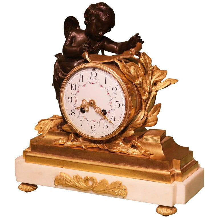 19th Century French Bronze and Ormolu Clock Garniture For Sale