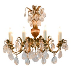 19th Century French Bronze and Rock Crystal Chandelier