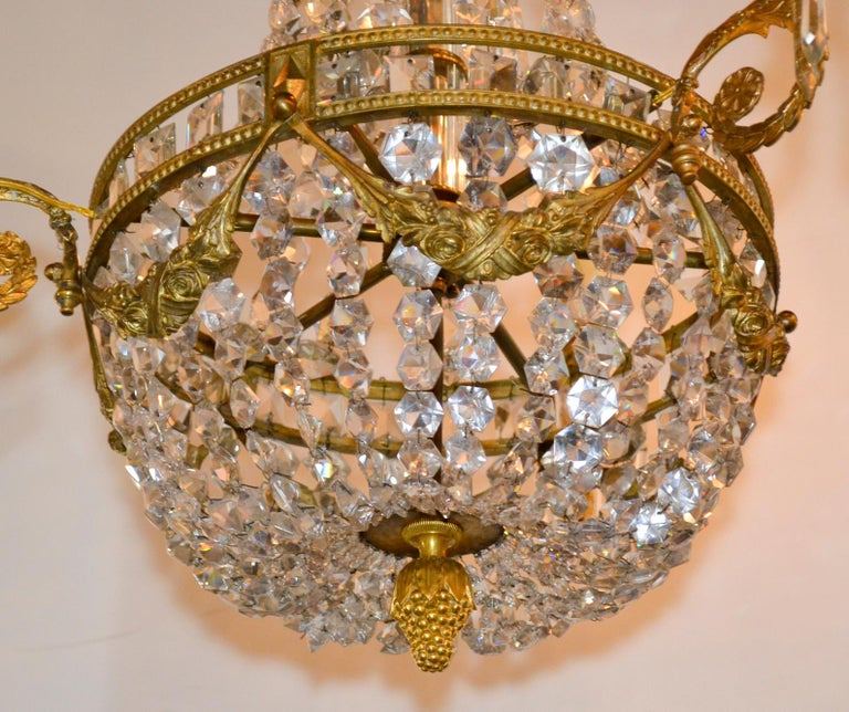 Nice late 19th century, French bronze and crystal 3-light basket chandelier.