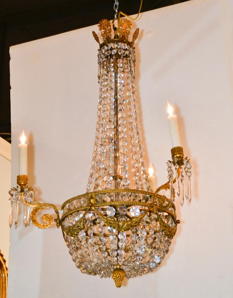 Gilt 19th Century, French Bronze Basket Chandelier For Sale