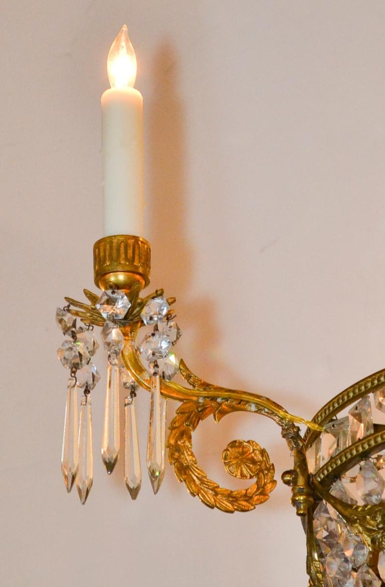 19th Century, French Bronze Basket Chandelier In Good Condition For Sale In Dallas, TX