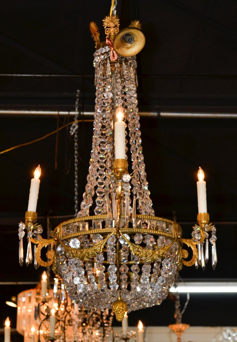 19th Century, French Bronze Basket Chandelier For Sale 1