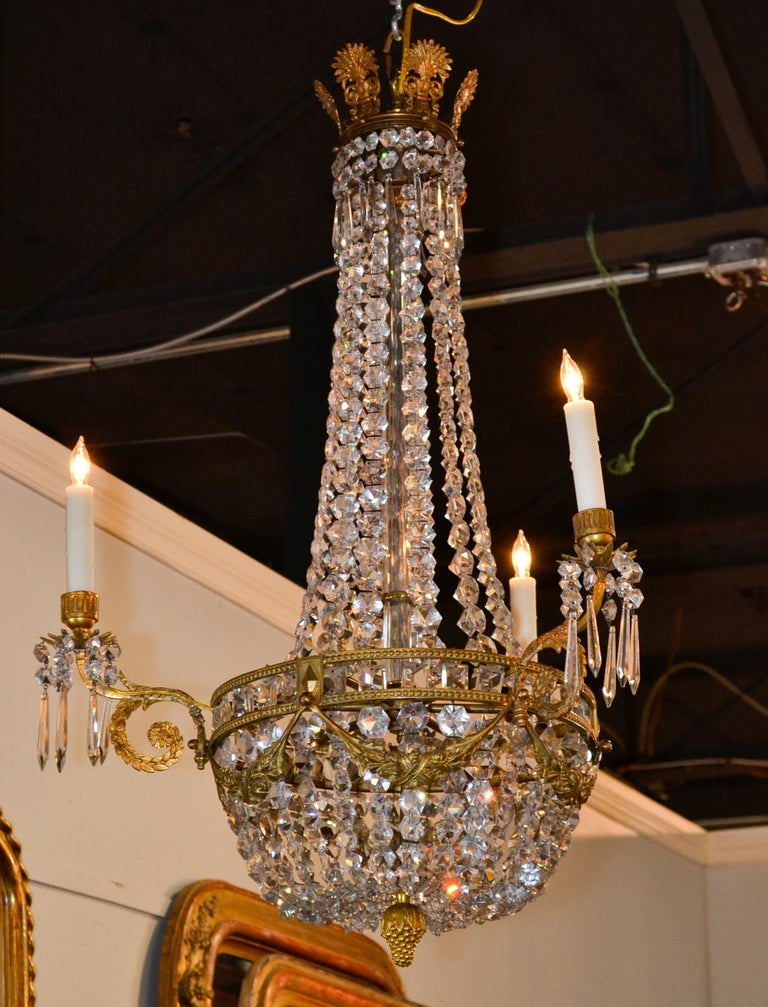19th Century, French Bronze Basket Chandelier For Sale 3