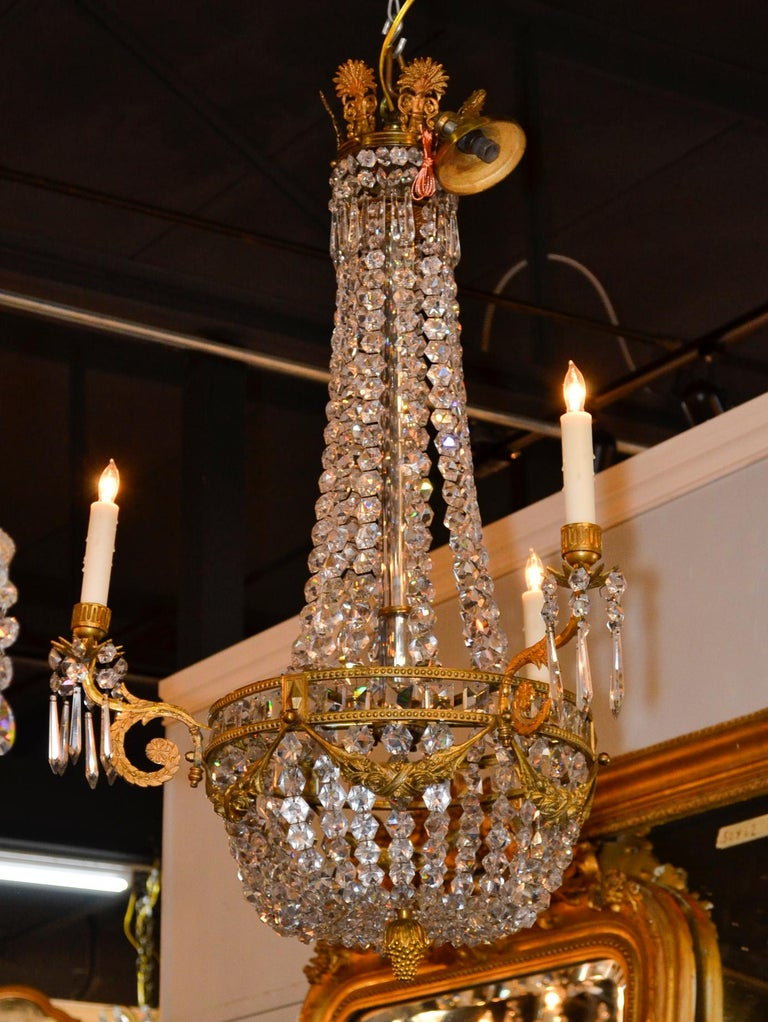19th Century, French Bronze Basket Chandelier For Sale 4