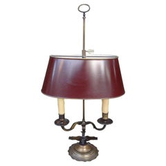 19th Century French Bronze Bouillotte Lamp with Tole Shade
